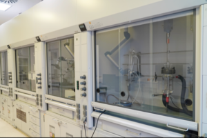 Section of R&D facility in Polpharma Starogard Gdanski. Part of a 1000 sq m facility, comprising 10 labs with 30 fume hoods equipped with state-of-the-art instruments to support chemical and analytical development projects.
